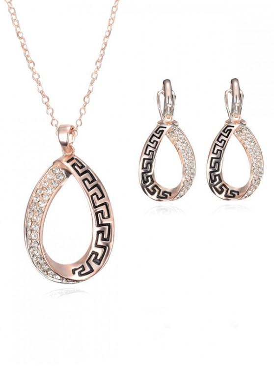 outfits Tear Drop Rhinestone Earrings Necklace Set - ROSE GOLD