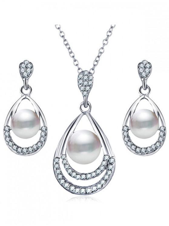 fancy Faux Pearl Design Jewelry Set - SILVER