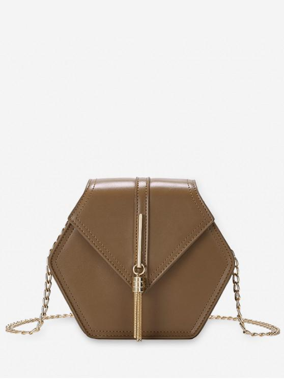 unique Tassel Decoration Crossbody Bag - BROWN