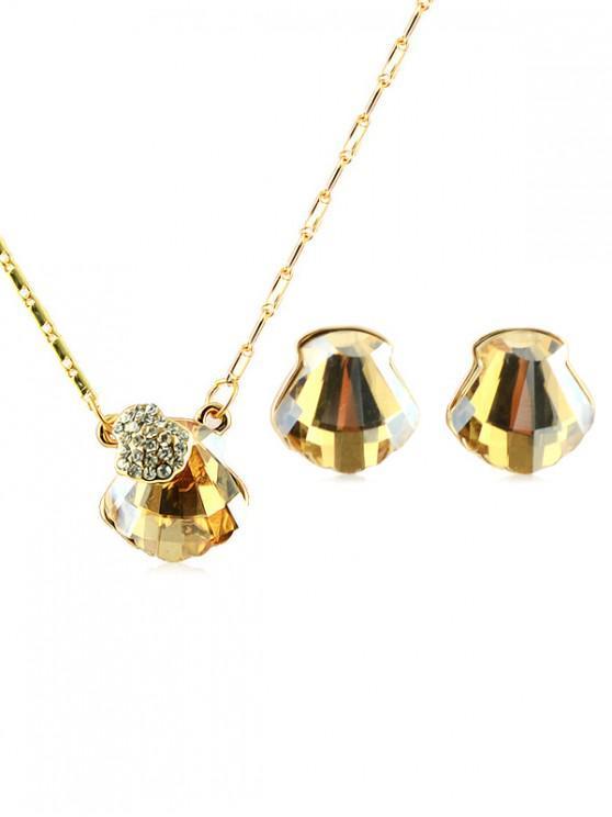 sale Rhinestone Inlaid Faux Crystal Jewelry Set - GOLD