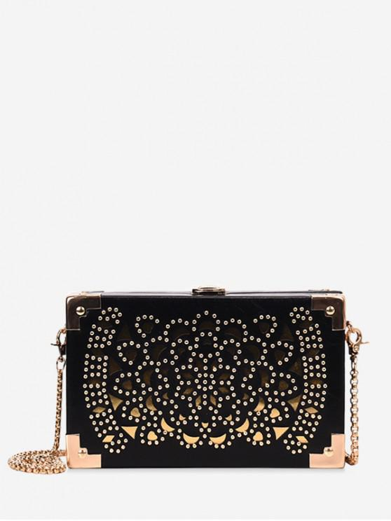 affordable Hollow Out Decoration Crossbody Bag - BLACK