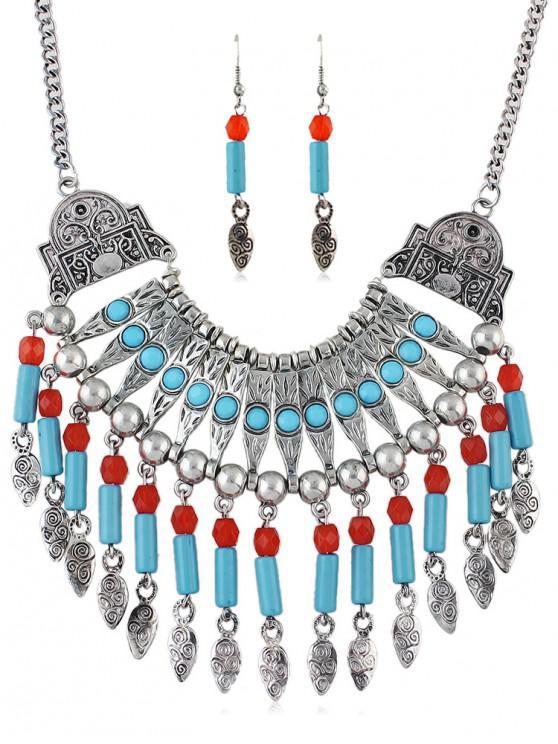 buy Tribal Carved Fringe Necklace Earrings Set - SILVER