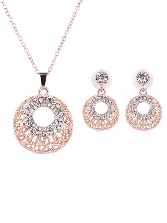 women Round Shape Rhinestone Jewelry Set - ROSE GOLD
