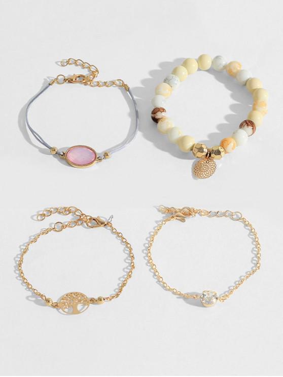 women's 4Pcs Life Tree Beads Bracelet Set - GOLD