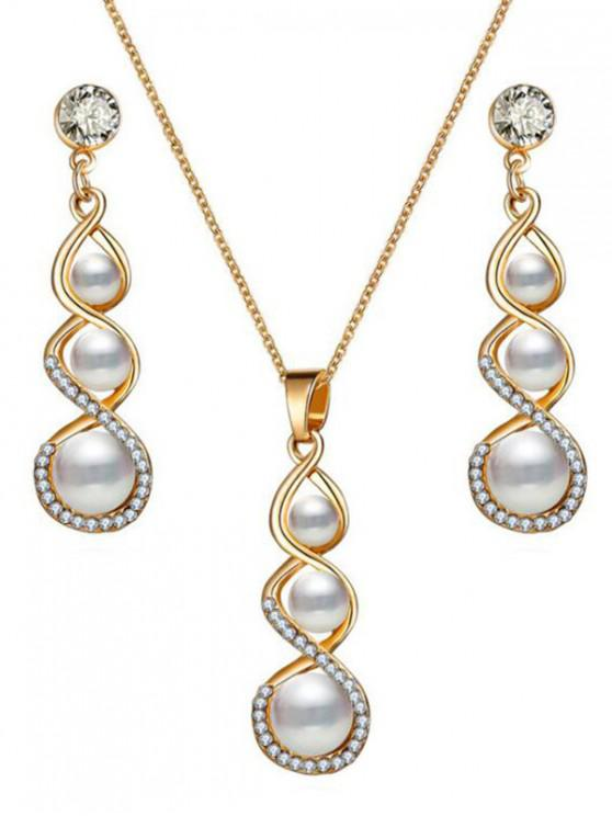 ladies Faux Pearl Design Jewelry Set - GOLD