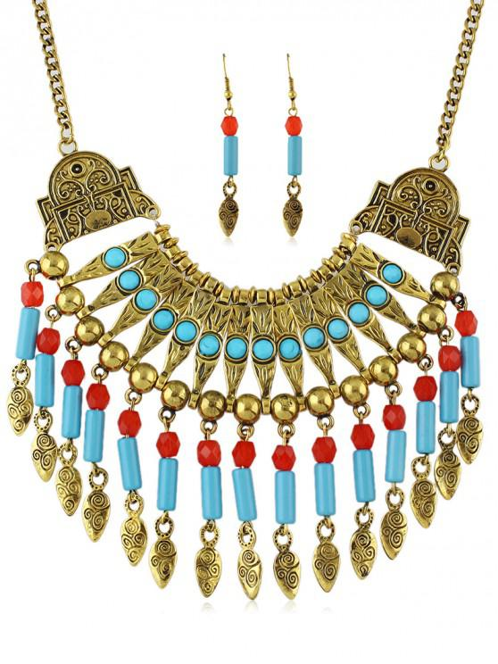 best Tribal Carved Fringe Necklace Earrings Set - GOLD