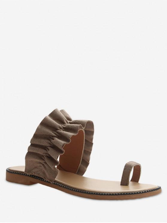 latest Leisure Toe Ring Flat Sandals - RED DIRT EU 39