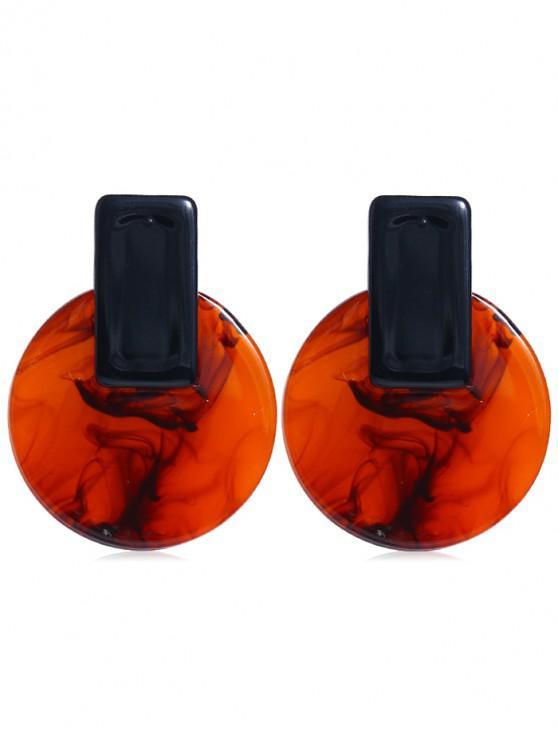 unique Geometric Round Stud Earrings - BLACK