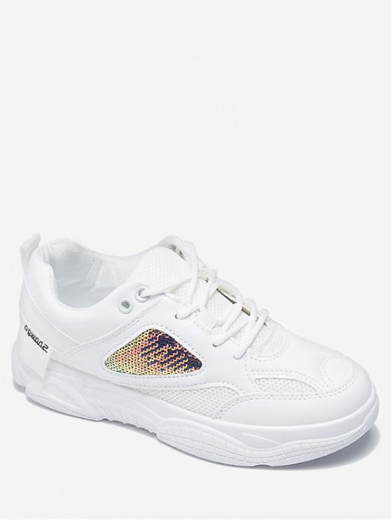 lady Sequins Design Lace-up Sport Shoes - WHITE EU 37
