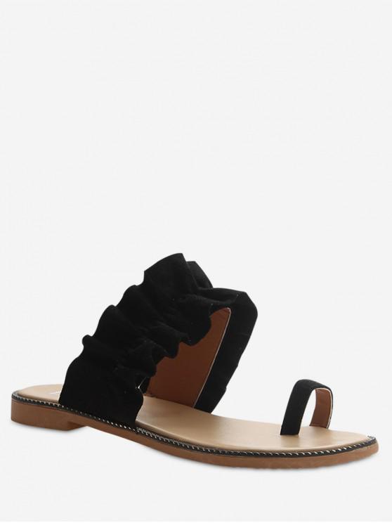 best Leisure Toe Ring Flat Sandals - BLACK EU 39