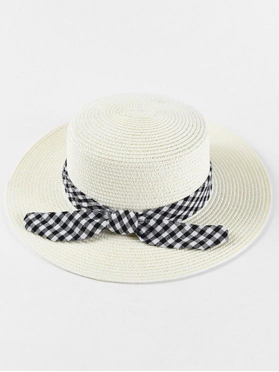shops Bowknot Decoration Straw Woven Hat - WHITE
