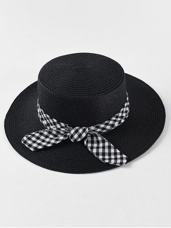 chic Bowknot Decoration Straw Woven Hat - BLACK