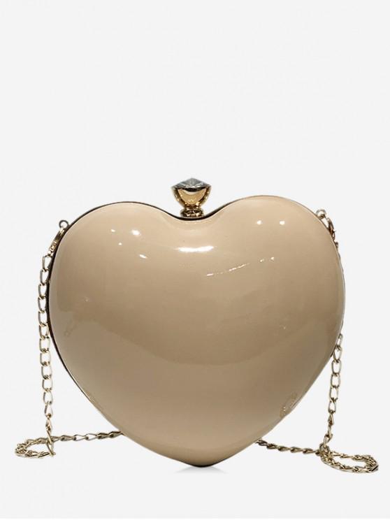 shop Heart Shape Design Crossbody Bag - KHAKI