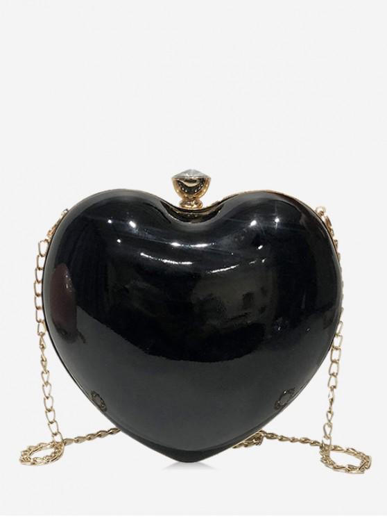fancy Heart Shape Design Crossbody Bag - BLACK