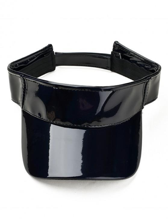 buy Adjustable Hook and Loop Glossy Sunhat - BLACK