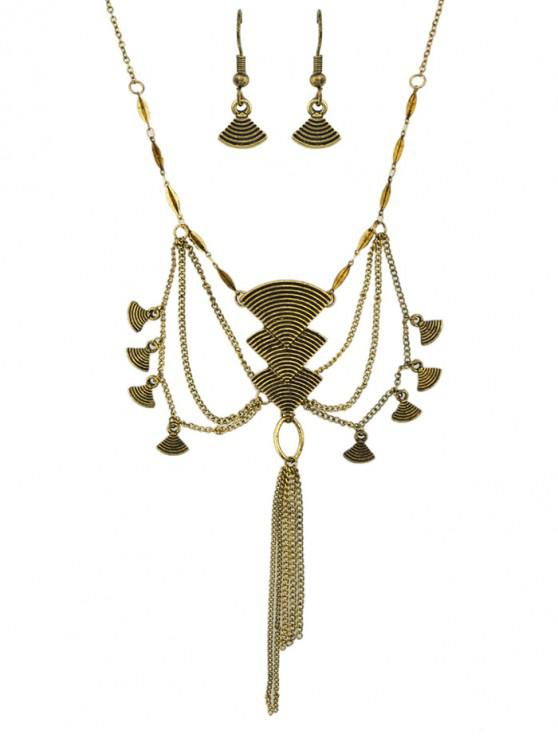 womens Vintage Geometric Tassel Jewelry Suit - GOLD