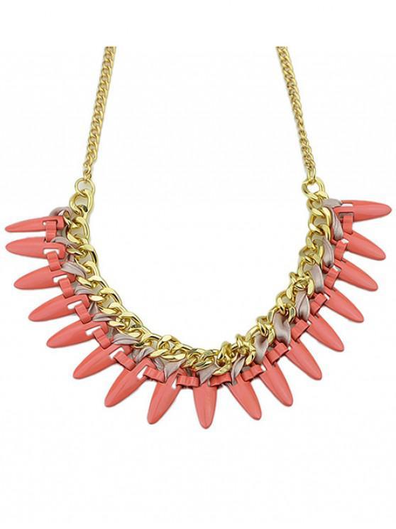 unique Geometric Chain Necklace Bracelet Set - RUBY RED