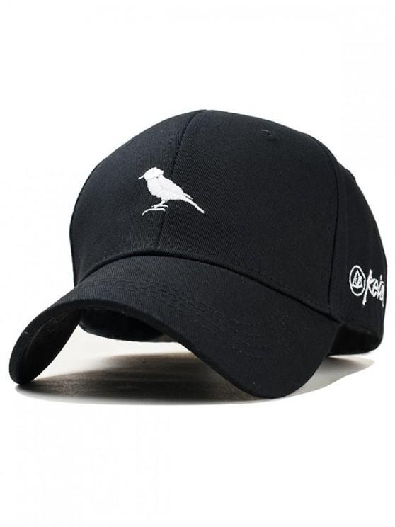 sale Embroidered Bird Pattern Baseball Hat - BLACK