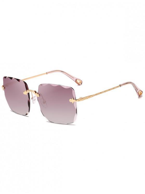 womens Rimless Metal Frame Irregular Carved Sunglasses - VIOLA PURPLE