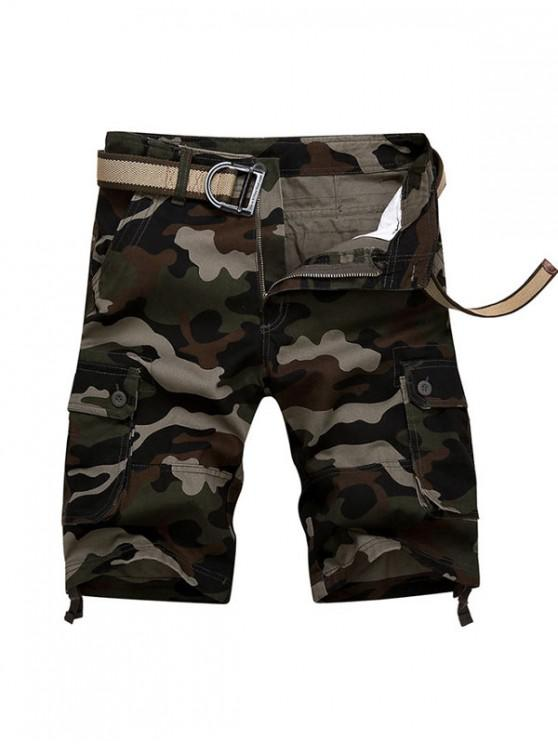 outfits Camouflage Print Casaul Cargo Shorts - MEDIUM FOREST GREEN 42