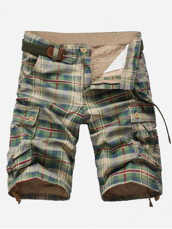 unique Plaid Print Multi-pocket Cargo Shorts - GREEN PEAS 32