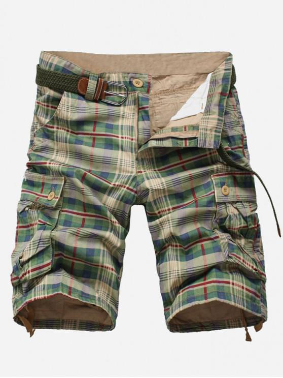 affordable Plaid Print Multi-pocket Cargo Shorts - GREEN PEAS 36