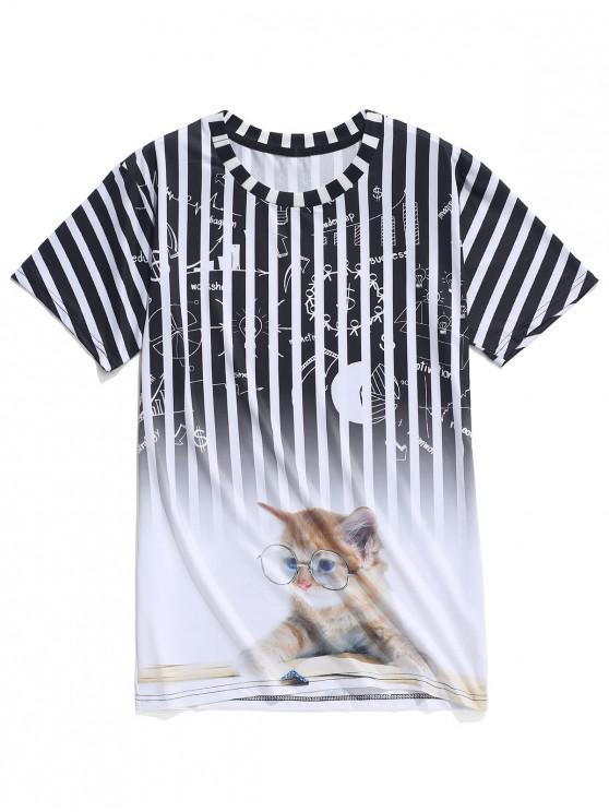 fashion Ombre Striped Graphic Cat Print Casual T-shirt - MULTI XS