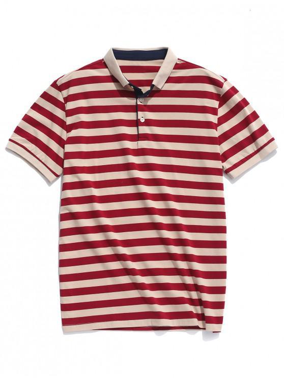 Camisa casual con estampado de rayas de cuello vuelto - Multicolor S