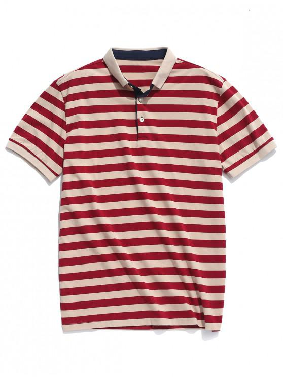 outfits Turn-down Collar Stripes Print Casual T-shirt - MULTI M