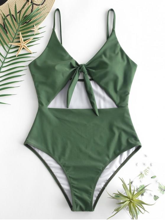 lady ZAFUL Knot Cut Out Swimsuit - HAZEL GREEN M