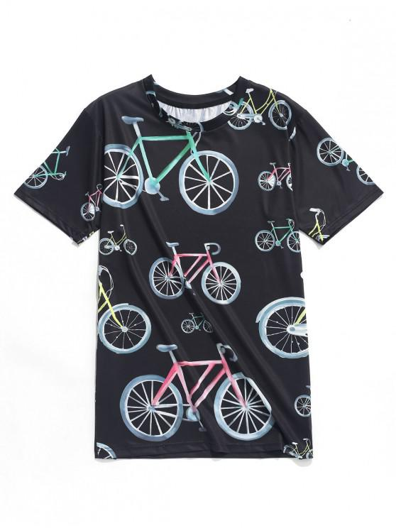 online Bicycle Graphic Print Casual T-shirt - MULTI S