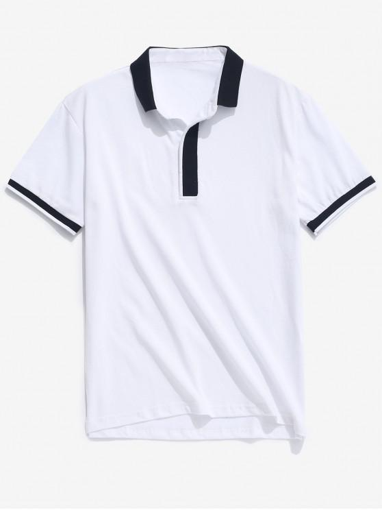 hot Color Block Turn-down Collar Casual T-shirt - WHITE S