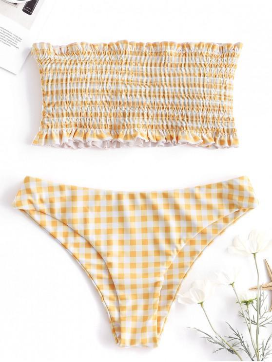 chic ZAFUL Gingham Frilled Smocked Bikini Set - BRIGHT YELLOW L