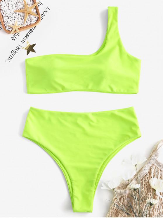 fancy One Shoulder High Waisted Bikini Set - GREEN YELLOW M