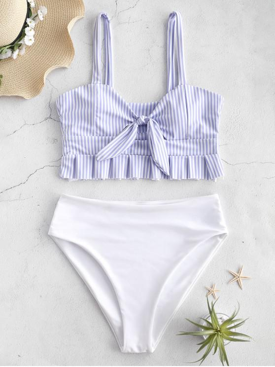 buy ZAFUL Knot Ruffle Tankini Set - POWDER BLUE M