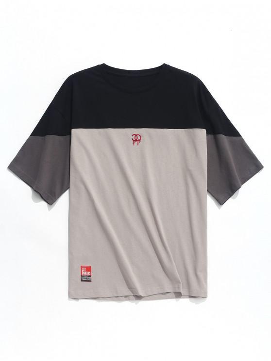 latest Applique Logo Print Panel T-shirt - BLACK M