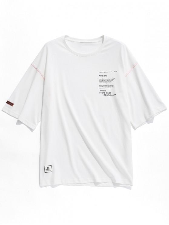 fashion Round Neck Letters Print Applique Tee - WHITE XL