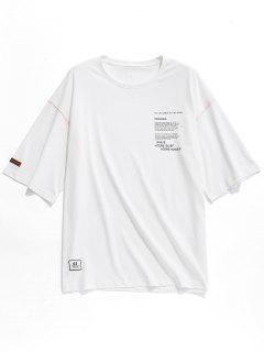 T-shirt Applique Lettre Imprimée à Col Rond - Blanc M