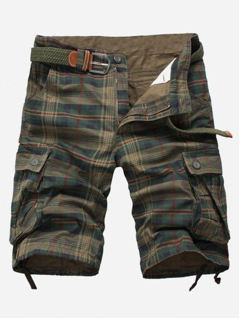 Pantalones cortos de carga multibolsillo con estampado a cuadros - Verde Oscuro 38 Mobile