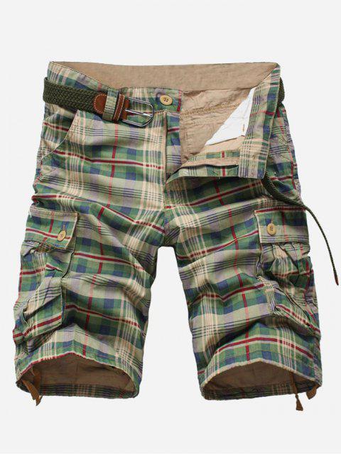 Pantalones cortos de carga multibolsillo con estampado a cuadros - Guisantes Verdes 32 Mobile