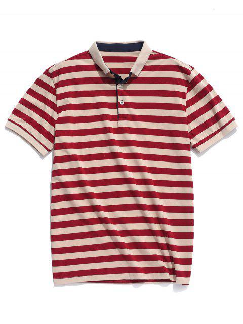 Camisa casual con estampado de rayas de cuello vuelto - Multicolor M Mobile