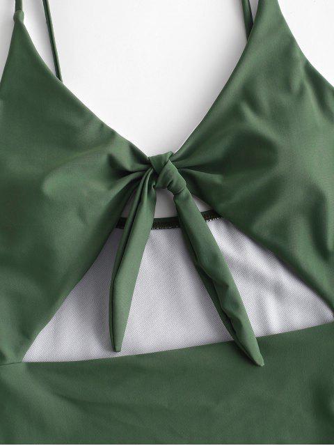 ZAFUL Knot Cut Out traje de baño - Verde Marrón Claro S Mobile