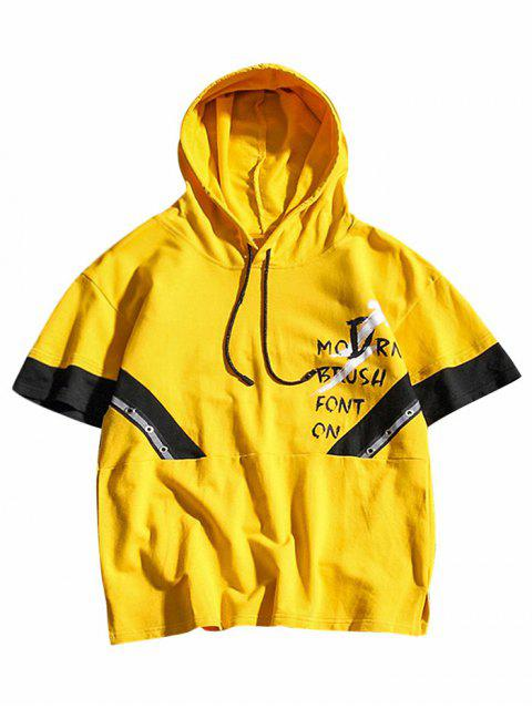 fancy Letters Printed Color Block Hooded T-shirt - GOLDENROD S Mobile