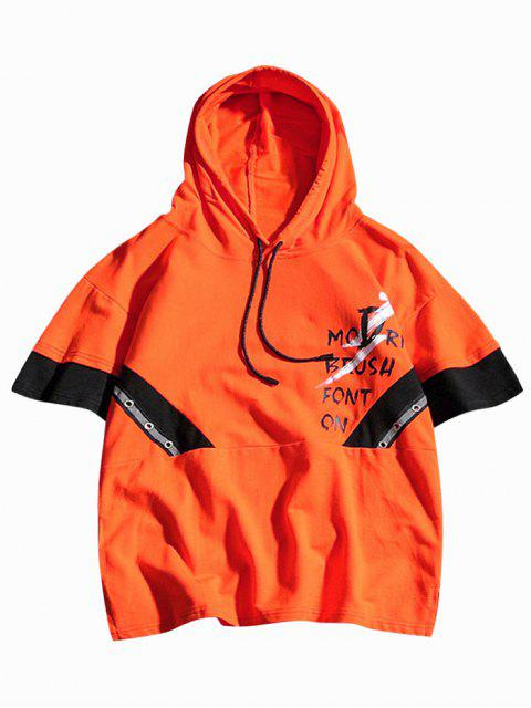 sale Letters Printed Color Block Hooded T-shirt - HALLOWEEN ORANGE S Mobile