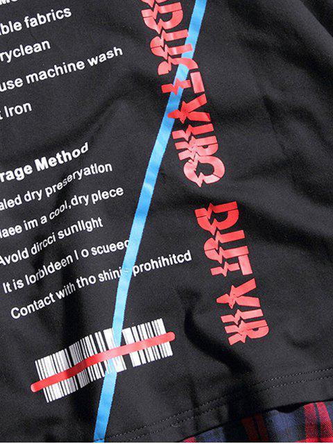 women's Asymmetric Letters Print Plaid Hooded T-shirt - BLACK M Mobile