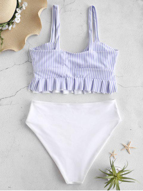ladies ZAFUL Knot Ruffle Tankini Set - POWDER BLUE S Mobile