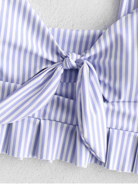 womens ZAFUL Knot Ruffle Tankini Set - POWDER BLUE L Mobile