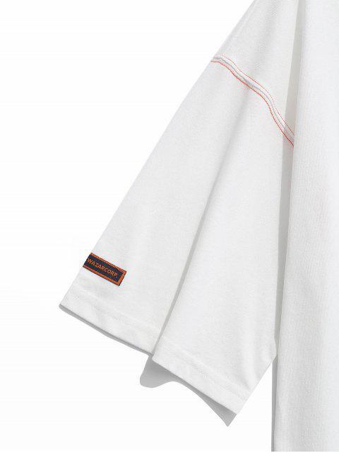 Cuello redondo letras imprimir apliques camiseta - Blanco L Mobile