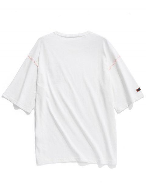 Cuello redondo letras imprimir apliques camiseta - Blanco M Mobile
