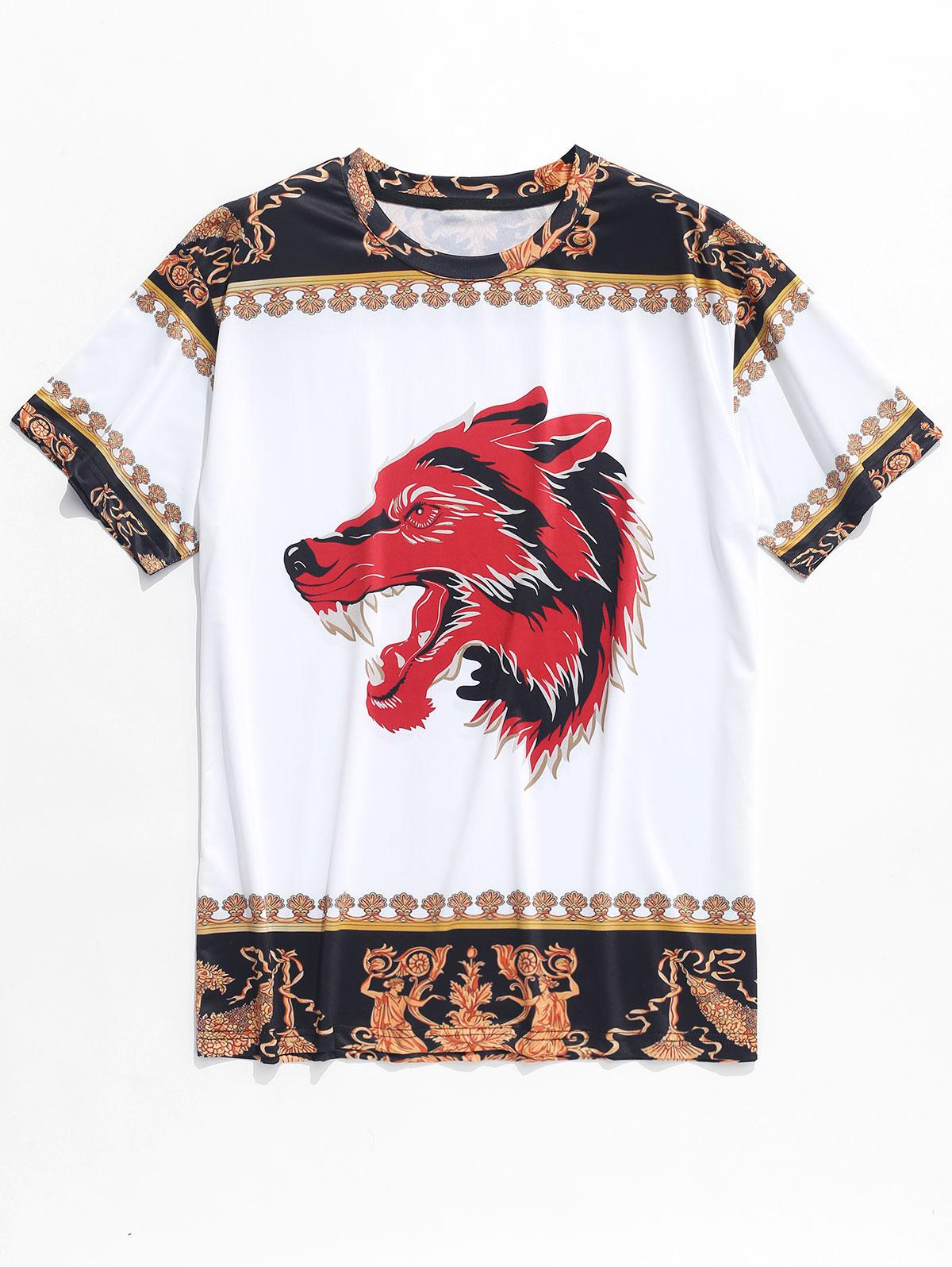 Wolf Flowers Ethnic Print Casual T-shirt, White